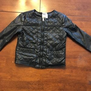 Osh Kosh Girls' Black Quilted Faux Leather Jacket